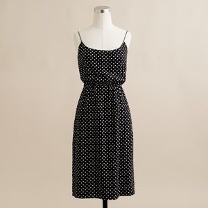 J.Crew Blouson Spaghetti Strap Dot Dress